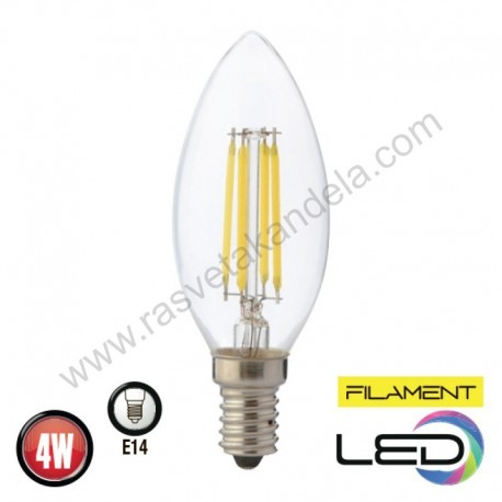 LED sijalica E14 4W FILAMENT CANDLE 4200K