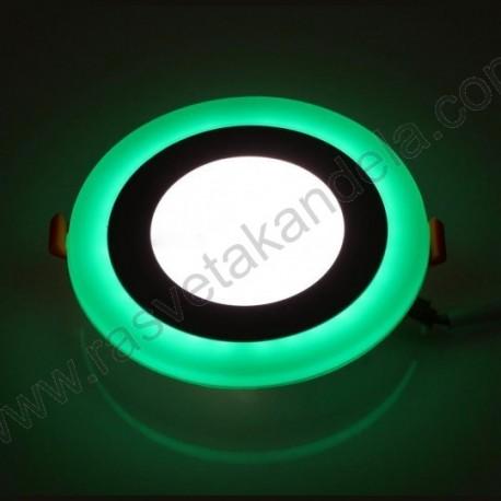 LED panel ugradni okrugli M3UO-D 3+3W zelena+6500K