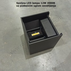 Baštenska zidna LED lampa WL7458 12W 3000K crna