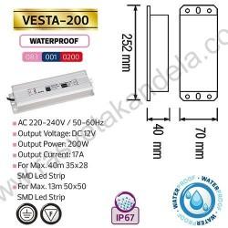 Napajanje za LED trake vodootporno 17 A 200W 12V VESTA-200