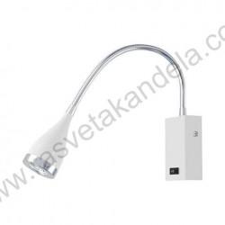 Zidna LED lampa SAKA 3W 3000K sa prekidačem bela