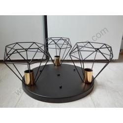 Luster plafonjera vintage CAGE-3P metalna crna