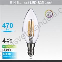LED sijalica E14 filament B35 4W 6500K