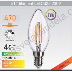 LED dimabilna sijalica E14 filament B35 4W 2700K