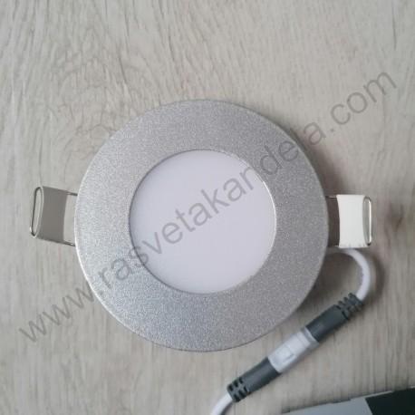 LED panel 3W okrugli M3UO-SIL srebrni 6500K
