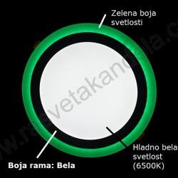 LED nadgradni panel 18W + 6W okrugli M18NO-D zelena + 6500K