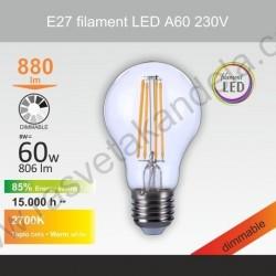 Led sijalica filament E27 A60 8W 2700K dimabilna