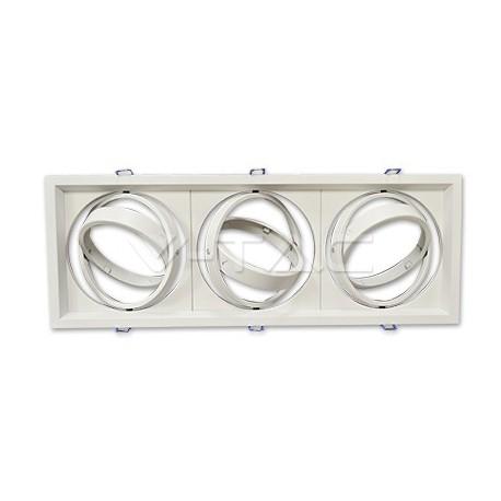 Rozetna - ugradna lampa AR111x3 VT-7223 bela aluminijum