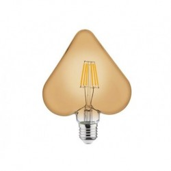 LED sijalica E27 RUSTIC HEART Amber glass 6W 2200K